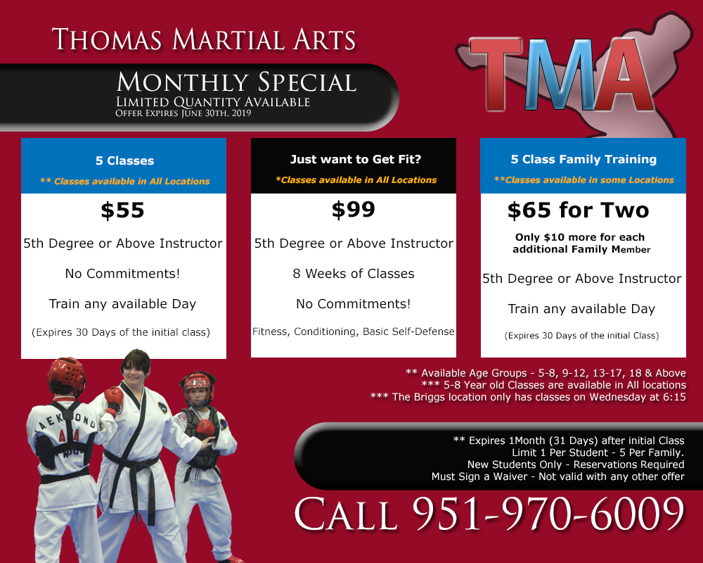 Thomas Martial Arts Monthly Special